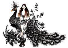 Fashion+Illustration++Girl+&+Peacock+by+sunnygu+on+Etsy,+$30.00