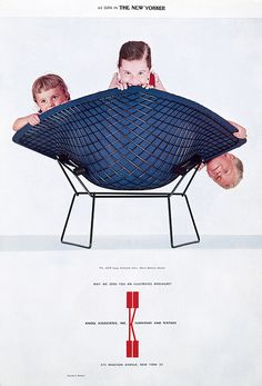 3 kids in a Bertoia chair. vintage Knoll ad.