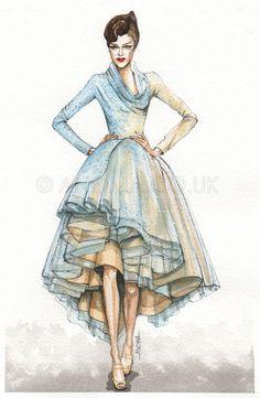 https://flic.kr/p/9YQiWV | Fashion illustration: Christian Dior Spring 2011 Haute Couture | Christian Dior Spring 2011 Haute Couture. Watercolour on paper by Anoma Natasha Paleebut. ©ANOMA.CO.UK
