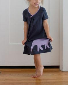hopscotch dress with elephant applique // skirt as top
