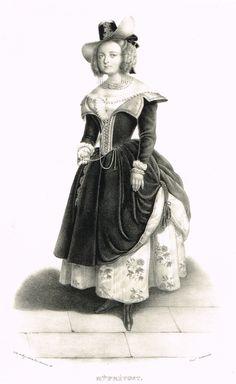 Mademoiselle PRÉVOST (dans le brasseur de Preston) - (1802-1861) actrice de l'Opéra Comique - d'après Alexandre Lacauchie - 1841 - MAS Estampes Anciennes - Antique Prints