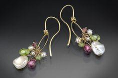 Charm drop earring w/ Peridot, Garnet & Pearl,