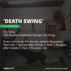 For Time: 300 Russian Kettlebell Swings kg); Every minute on the minute, perform Burpee(s). Start with 1 Burpee after minute then 2 Burpees after minute then 3 Burpees, etc. Crossfit Workouts At Home, Wod Workout, Plyometric Workout, Plyometrics, Running Workouts, Fitness Workouts, Fitness Goals, Russian Kettlebell Swing, Kettlebell Swings