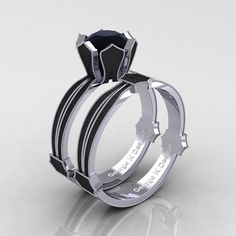 Classic Armenian 14K White and Black Gold 1.0 Ct by artmasters