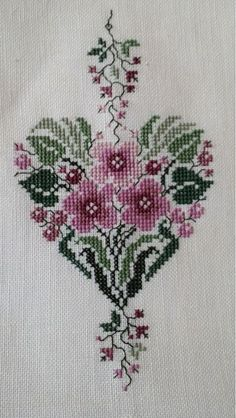 Pink Flower Heart • 1/2 Stitched Design