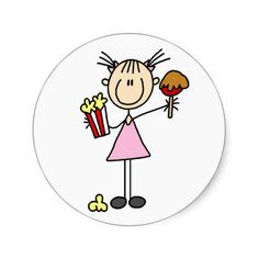 Popcorn and Cotton Candy Tshirts and Gifts Round Sticker