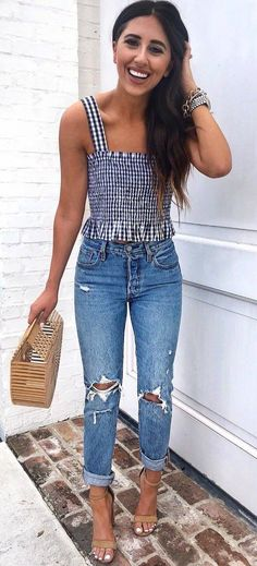 trendy spring outfit plaid top   bag   rips   sandals