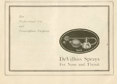 1922 DEVILBISS SPRAYS FOR NOSE AND THROAT AD.