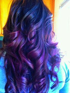 Dark brown hair with purple hombre