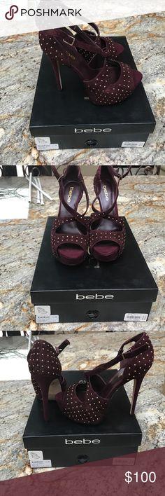 NWT Bebe platform crossover sandal in burgundy NWT Bebe platform crossover sandal in burgundy with gold details! NEVER WORN! bebe Shoes