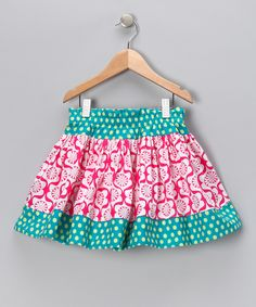 Turquoise & Pink Parlor Twirly Skirt - Infant, Toddler & Girls