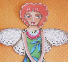 Butterfly fairy Printable Paper doll by birdandflower on Etsy