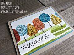 """Check out this week's Friday Quickie Video on the """"faux watercolor"""" technique using Stampin Up's Totally Trees and One Big Meaning Stamp sets on my blog at www.thecreativitcave.com #stampinup #thecreativitycave #fauxwatercolor #watercolortechniques"""