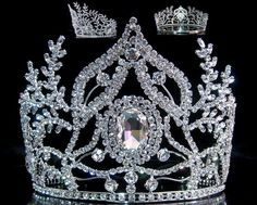 "Beauty Pageant Rhinestone Queen Ceremonial Silver Crown Tiara Among the most beautiful of our creations, this antique style tiara looks like those popular during the heyday of the ""Boardwalk"" pageants"