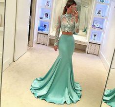 High Neck Evening Dress, Lace Evening Dress, Mint