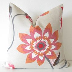 Decorative pillow cover - Brunschwig Fils - 20x20 - Linen - Pink -  Orange -White - Floral - Throw pillow. $85.00, via Etsy.