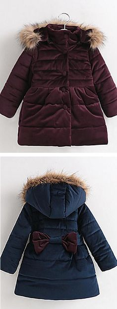 Cute and winter warm padded hoodie backside bow jacket for girls, comes in burgundy and navy blue colors at $29.99.