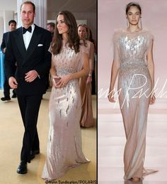"""Here is how the dress is described on the Jenny Packham Facebook page: """"The Duchess selected the pearlescent rose sequin gown with Swarovski crystal from the SS11 catwalk collection"""""""