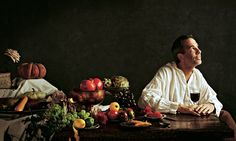 Yotam Ottolenghi at a table laden with a feast of fruit and veg Plant Based Recipes, Raw Food Recipes, Vegetable Recipes, Vegetarian Recipes, Cooking Recipes, Vegan Food, Healthy Food, Ottolenghi Recipes, Yotam Ottolenghi