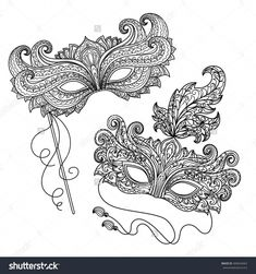 Immagine vettoriale stock 409644463 a tema Vector Black White Illustration Design Element (royalty free) Detailed Coloring Pages, Free Coloring Pages, Coloring Books, Adult Coloring, Colouring, Venetian Mask Tattoo, Porcelain Jewelry, Porcelain Ceramics, Painted Porcelain