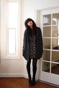 Oversized cardigan and dress