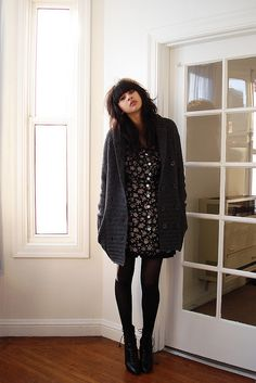 Oversized cardigan and dress