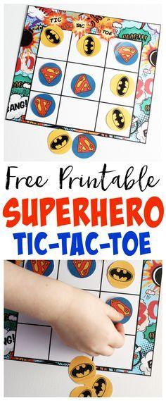 Superhero Tic-Tac-Toe Free Printable
