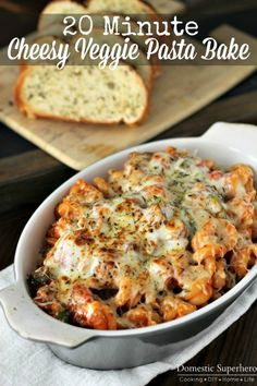 20 Minute Cheesy Veggie Pasta Bake with Zucchini & Mushrooms {Via @Allyson Zea {Domestic Superhero}}