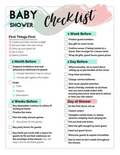 Baby Shower Gift List, Baby Shower Planner, Baby Shower Checklist, Budget Baby Shower, Virtual Baby Shower, Simple Baby Shower, Baby Shower Fall, Girl Shower, Baby Shower Parties