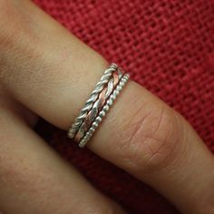 Handmade Sterling silver and copper stacking rings!
