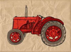 red Tractor vintage -Digital Image Sheet -Original Illustrate Drawing  A4 Print transfer on Pillows,