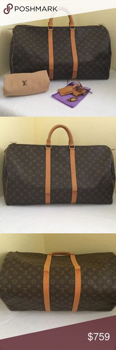 Louis Vuitton Keepall 55 Vintage with clear monogram, clean inside, no cracks. Only shows uneven Patina on leathers. All 4 edges (corners) are good. All brass hardwares are good as well. The 2 leather pulls had ink markings. My silly sister did that. Please see also additional photos listed separate. This comes with a set of lock & key, hanging name tag, cart holder and dust protector/bag. Louis Vuitton Bags Travel Bags