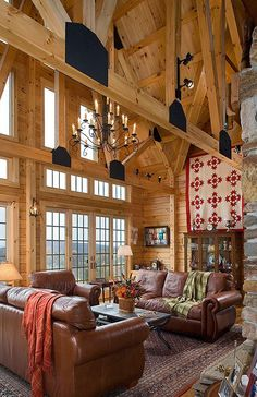 Coventry Log Homes | Rustic Living Room