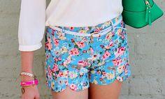 Blue Scallop Floral Shorts Floral Shorts, Short Dresses, Blue, Accessories, Outfits, Clothes, Women, Fashion, Short Gowns