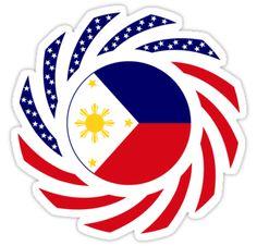 'Filipino American Multinational Patriot Flag Series ' Sticker by Carbon-Fibre Media - - Tribal Logo, Tribal Band Tattoo, Tribal Art, Thai Tattoo, Maori Tattoos, Filipino Tribal Tattoos, Samoan Tribal, Sun Tattoos, Sleeve Tattoos