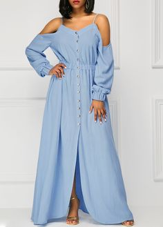 Off the Shoulder Blue Long Sleeve Maxi dresses Dress on sale only US$39.63 now, buy cheap Off the Shoulder Blue Long Sleeve Maxi Dress at liligal.com