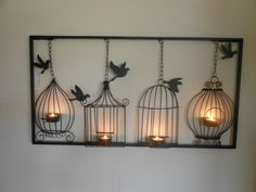 BIRDCAGE TEA LIGHT WALL ART, METAL, WALL HANGING, CANDLE HOLDER, BLACK BIRD CAGE