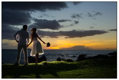 One of the most beautiful places to get married on earth is on Maui at the White Orchid Beach House, in Makena.  Look at this sunset with the bride and groom. Coordinated by Jacqueline of A White Orchid Wedding.  Photo by www.TadCraigPhotography.com