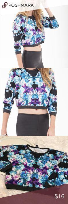 forever 21 floral boxy crop sweatshirt New. Sweatshirt cuffs and banding silky sweatshirt at printed flower area Forever 21 Tops Sweatshirts & Hoodies
