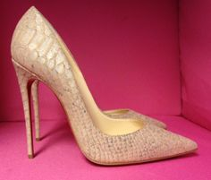 NIB Christian Louboutin So Kate Cork Embossed Pump, purchase at theCIRCEeffect.com