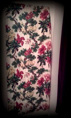 Vintage 1950's Mid Century Tropical Oriental Bark Cloth Pinch pleat drapes…