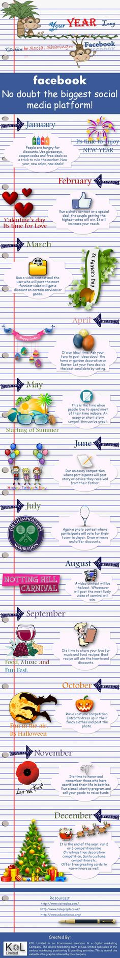 Checklist for Social Sharing On Facebook for every month of the year   Infographics   Graphs.net