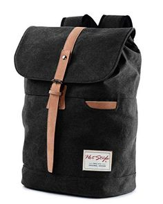 Vintage Canvas Backpack  HotStyle Waterpoof Travel Rucksack Fits 156 inch Laptop  Black *** Details can be found by clicking on the image.
