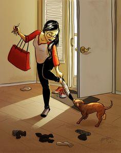 Me And My Dog, Girl And Dog, Living With Dogs, Alone Art, Amor Animal, Art Watercolor, Dog Illustration, Digital Illustration, Dog Art