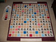 Scrabble Quilt  I think this would make a great wedding gift. (no tutorial)