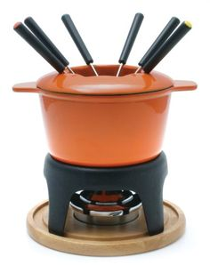 Sierra 11-Piece Meat Fondue Set, Orange Enameled Pot - http://cookware.everythingreviews.net/5362/sierra-11-piece-meat-fondue-set-orange-enameled-pot.html