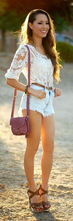 White Lace Blouse with High Waist Denim Short and ...
