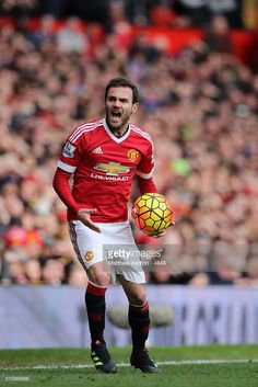 Juan Mata of Manchester United during the Barclays Premier League match between Manchester United and Arsenal at Old Trafford on February 28 in Manchester, England.