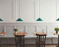 6 Seductive Cool Tips: Wainscoting Dining Room Stairs wainscoting trim floor colors.Wainscoting Dining Room Board And Batten. Wainscoting Bedroom, Dining Room Wainscoting, Wainscoting Panels, Wainscoting Height, Painted Wainscoting, Wainscoting Ideas, Bistro Design, Cafe Design, Cafe Bar