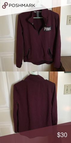 Maroon half zip Like new condition. More sporty fit. Zipper pockets. Stretchy fabric PINK Victoria's Secret Tops Sweatshirts & Hoodies